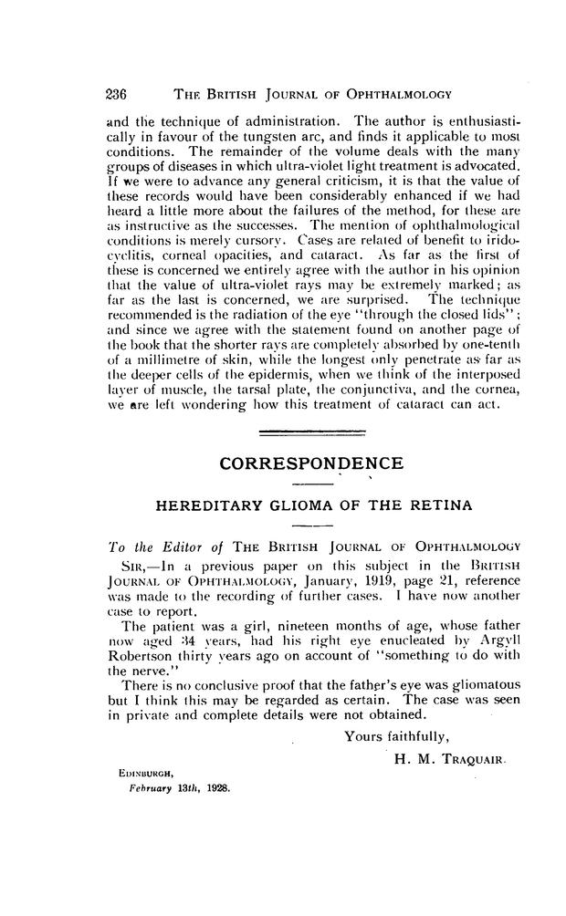 HEREDITARY GLIOMA OF THE RETINA | British Journal of