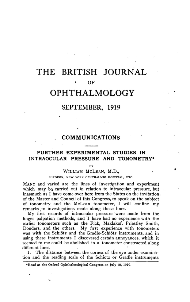 FURTHER EXPERIMENTAL STUDIES IN INTRAOCULAR PRESSURE AND
