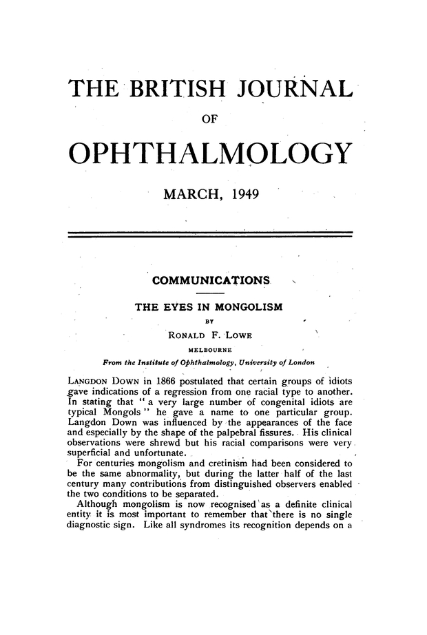 THE EYES IN MONGOLISM | British Journal of Ophthalmology