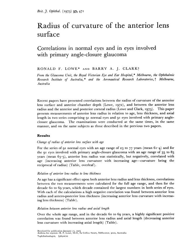 Radius of curvature of the anterior lens surface  Correlations in