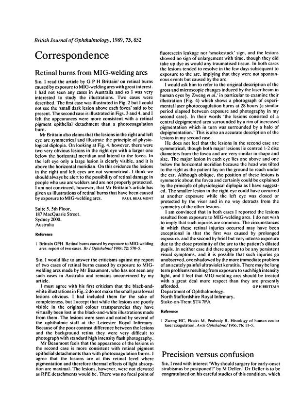Retinal burns from MIG-welding arcs  | British Journal of